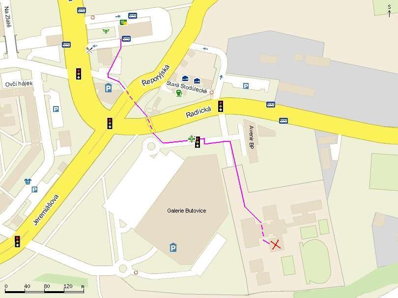 Obrázek s přístupovou cestou ke škole